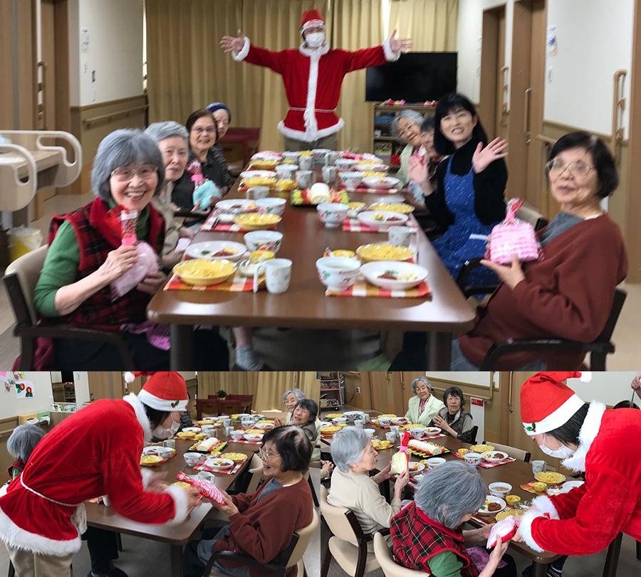 クリスマスは高齢者施設で介護体験